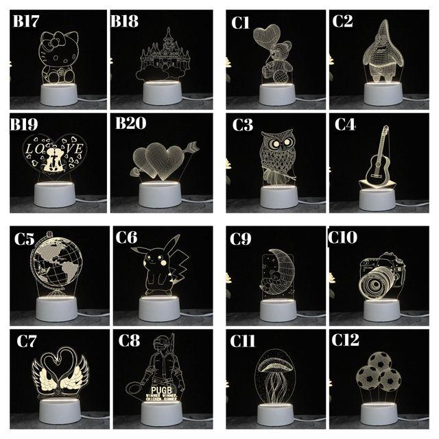 kado unik– lampu hias led 3d / lampu tidur hias dimenci / lampu transparan  / kado ulang tahun