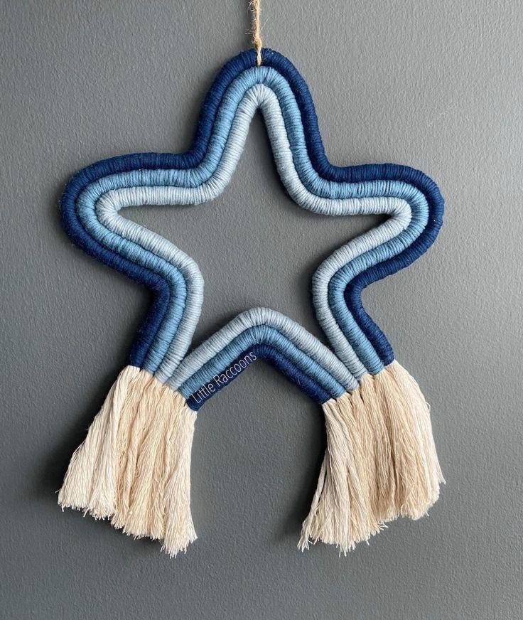 macrame blue star hiasan dinding dekorasi