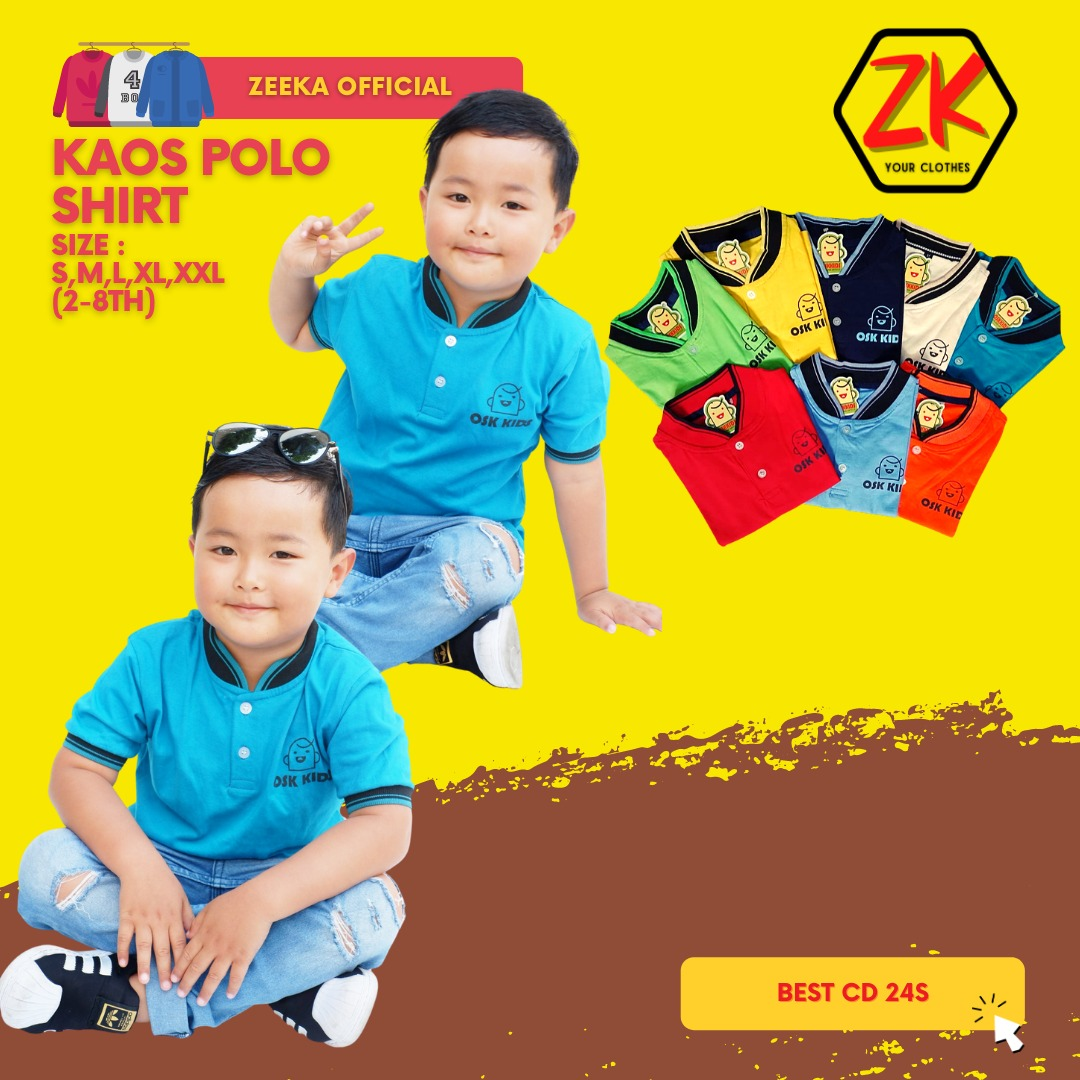 t-shirt kaos anak polo kerah osk kids  (2-6 tahun) by zivanka