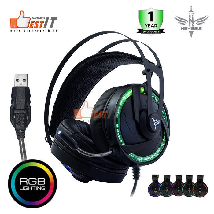 nemesis headset gaming nyk usb rgb hs-p10 icarus