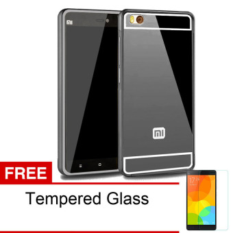 Case Twins Mirror Aluminium Bumper For Xiaomi Mi4i - Hitam + Gratis Tempered Glass