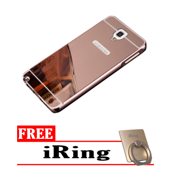 Case For Samsung Galaxy Note 3 Neo Bumper Slide Mirror - Rose Gold + Free iRing