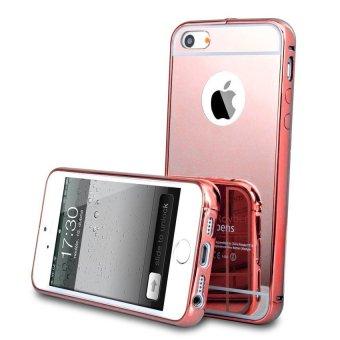 Casing Metal Alumunium Bumper Mirror For Iphone 6 / 6s - Rosegold