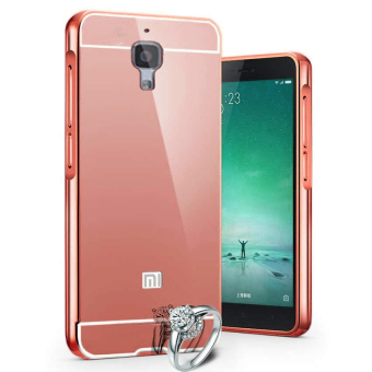 Casing Metal Alumunium Bumper Mirror For Xiaomi MI 4 / MI4 - Rosegold