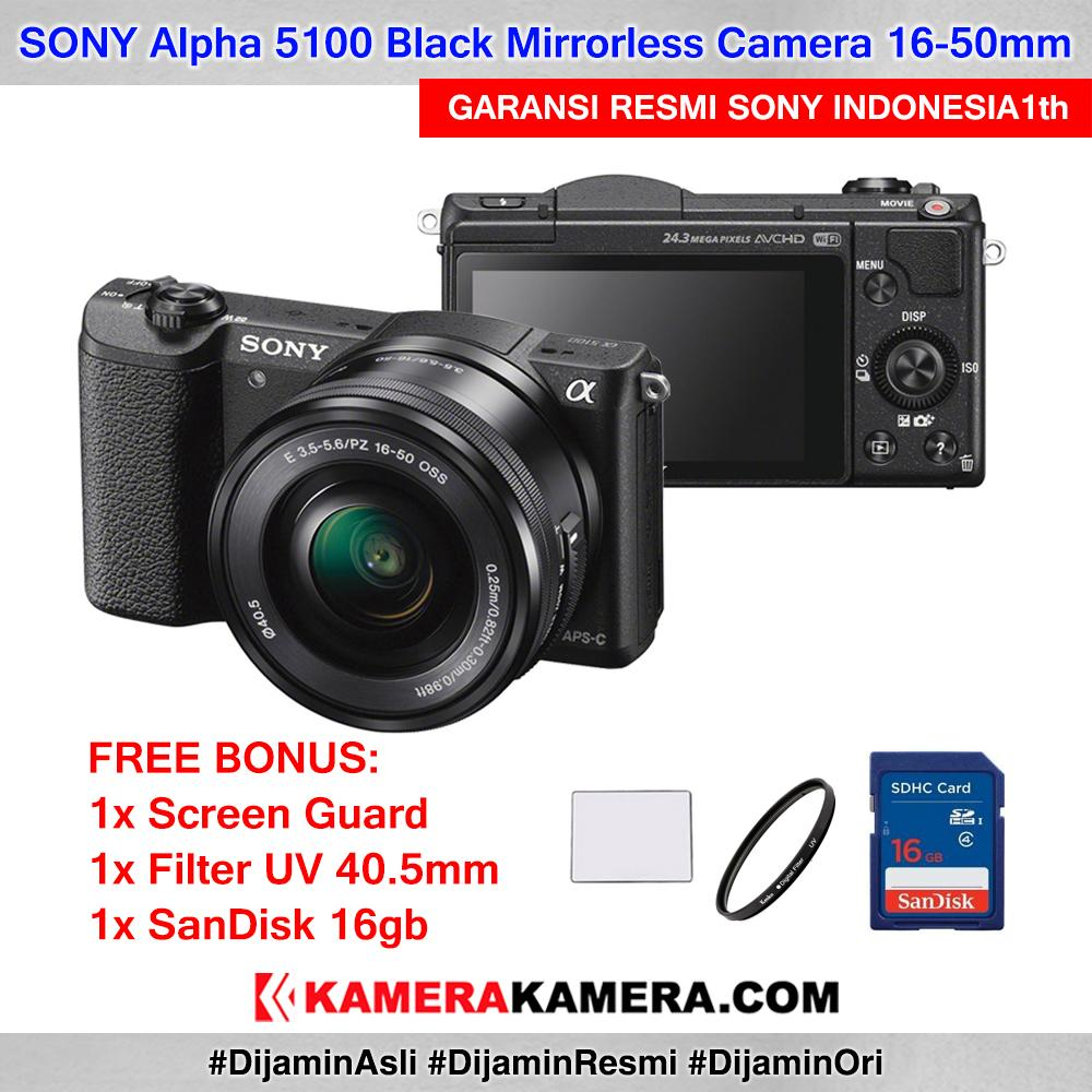 SONY Alpha 5100 with 16-50mm Lens Mirrorless Camera a5100 WiFi 24MP Full HD Garansi Resmi 1th + Screen Guard + SanDisk 16gb + Filter UV 40.5mm
