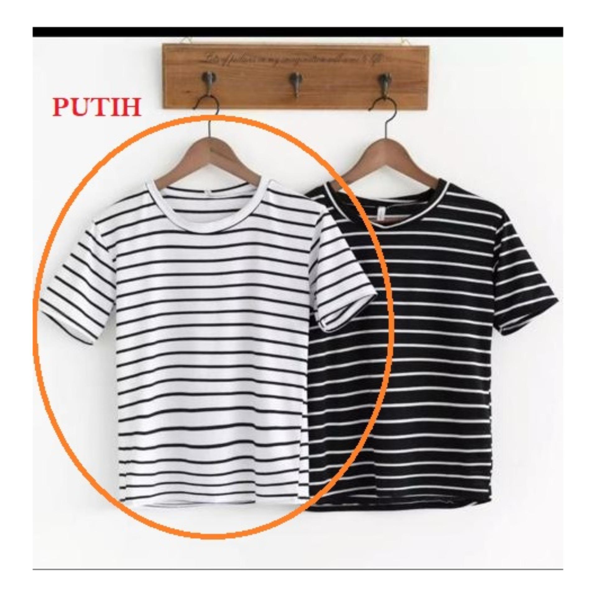 Baju Atasan Wanita SALUR LENGAN PENDEK / Kaos Salur Wanita / Baju Garis Wanita Murah /