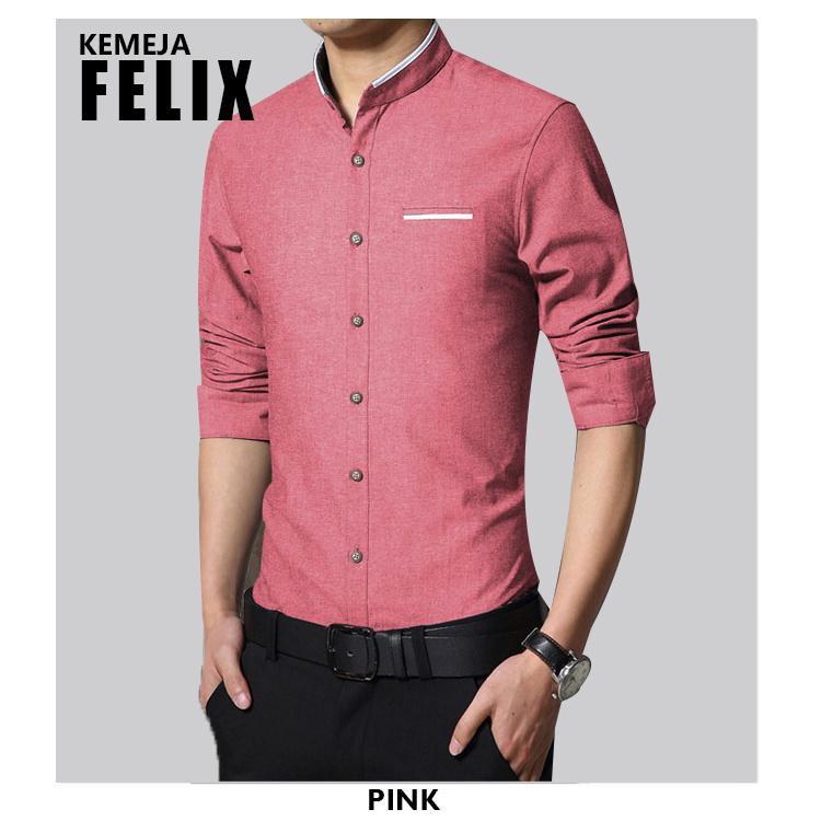hem felix man baju kemeja polos pria lengan panjang kemeja formal cowok warna maroon hitam putih