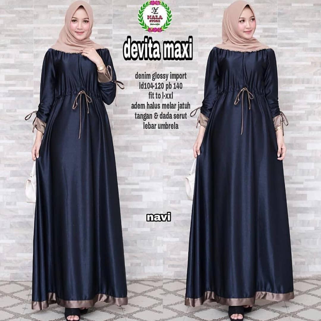 Raikheyshop - Gamis Baju Muslim Gamis Devita Maxi Dress Maxsmara Hijab Casual Pakaian Wanita Hijab Modis
