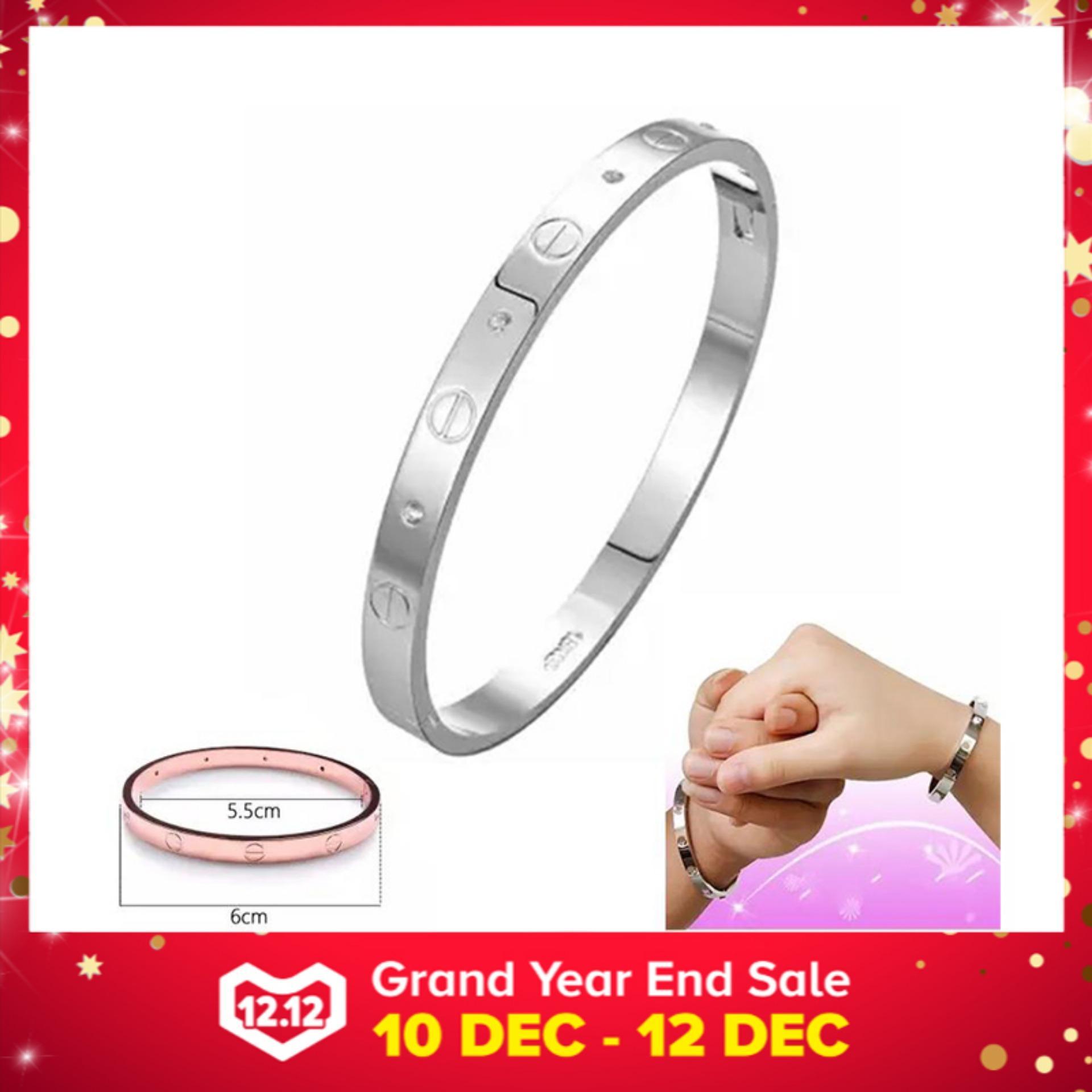 Women's Fashion Jewellery Stainless Steel Screw Rhinestone Titanium Bangle Charm Bracelet for Love