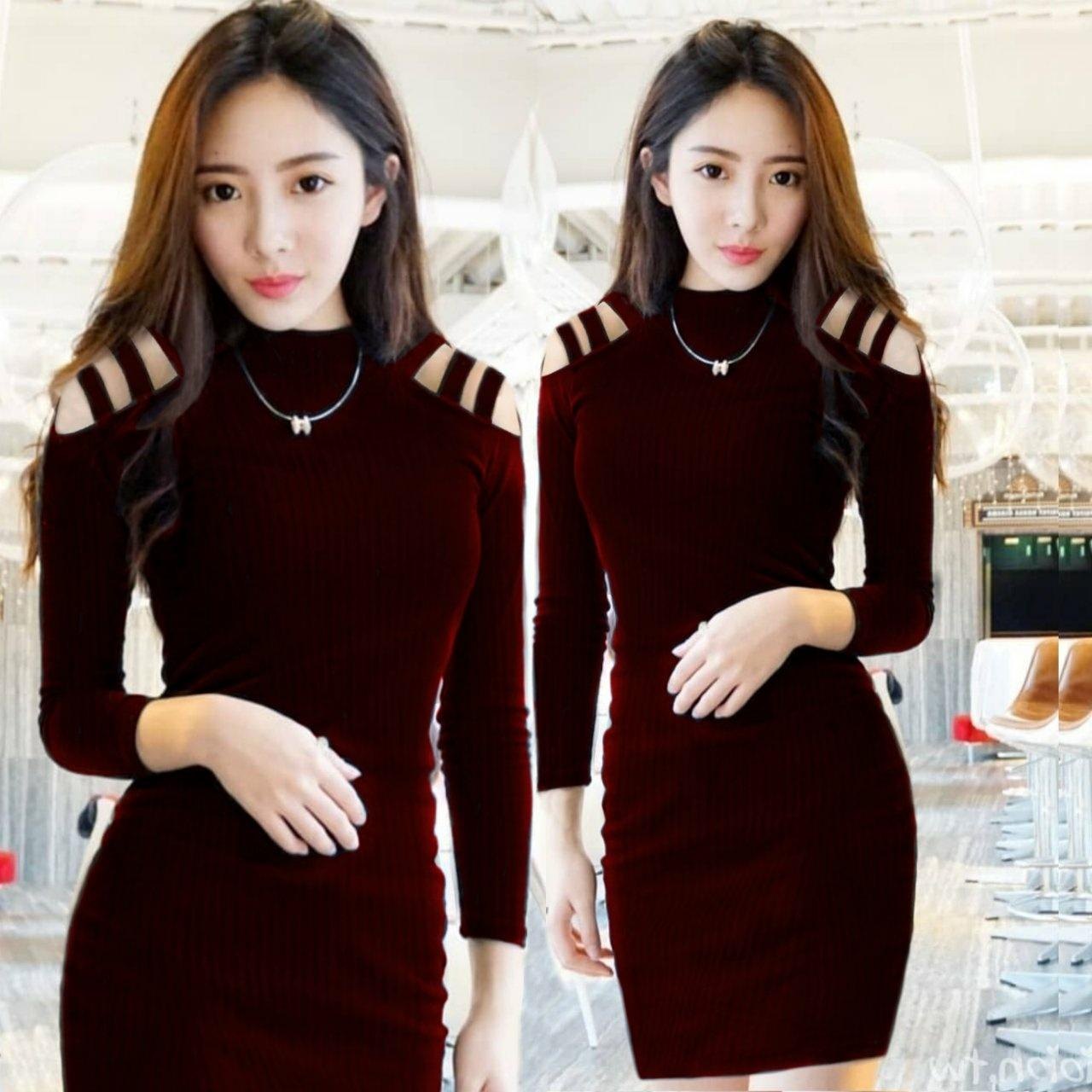 Hoziro - Baju / Atasan / Blouse Rajut / Dress Rajut / Dress Midi / Dress Kekinian / Dress Korea / Dress Terbaru / Dress Wanita Pinny Bahan Rajut