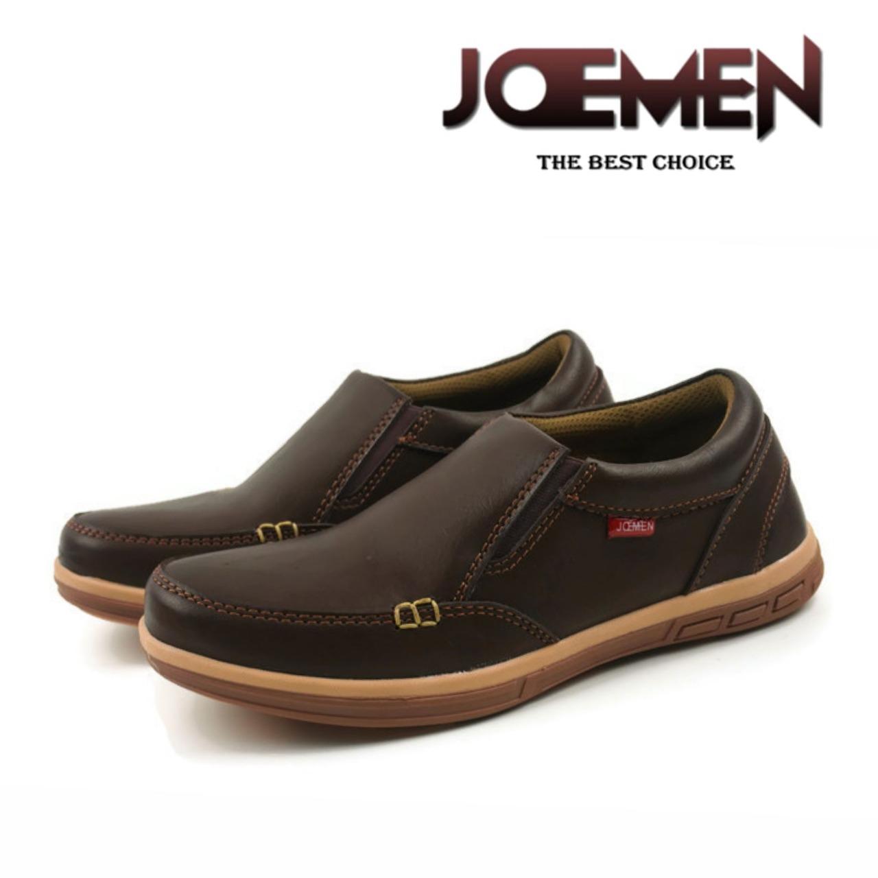 sepatu formal joemen j 21 slip on / coklat tua / formal bisnis kulit asli  lari sneakers jogging running cowok cewek harajuku stylish modern new kulit coklat tua