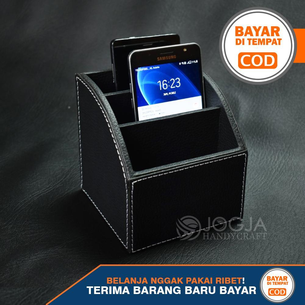 tempat hp – holder handphone – desktop organizer cover kulit sintetis
