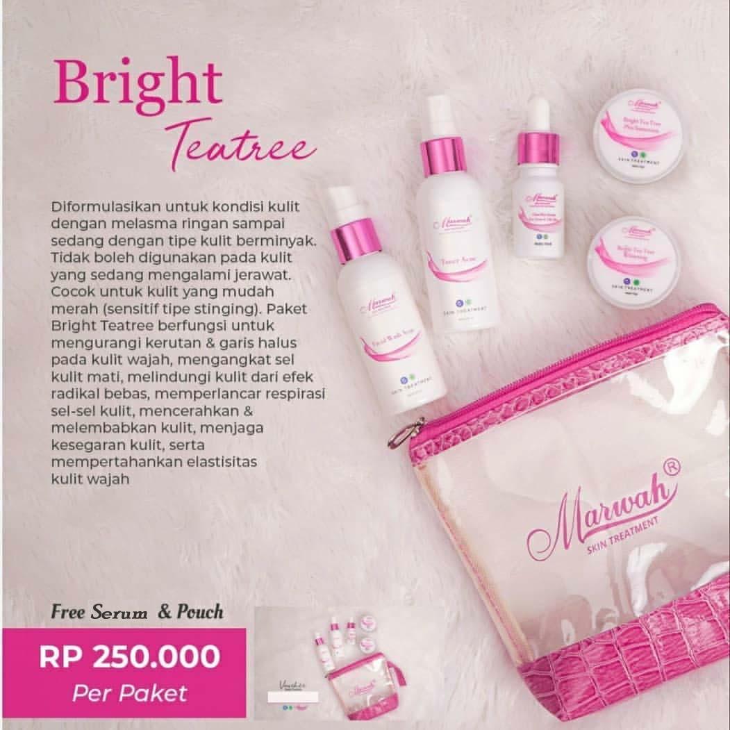 paket marwah bright tea tree- plus serum & pouch – paket normal namun berminyak-cream wajah