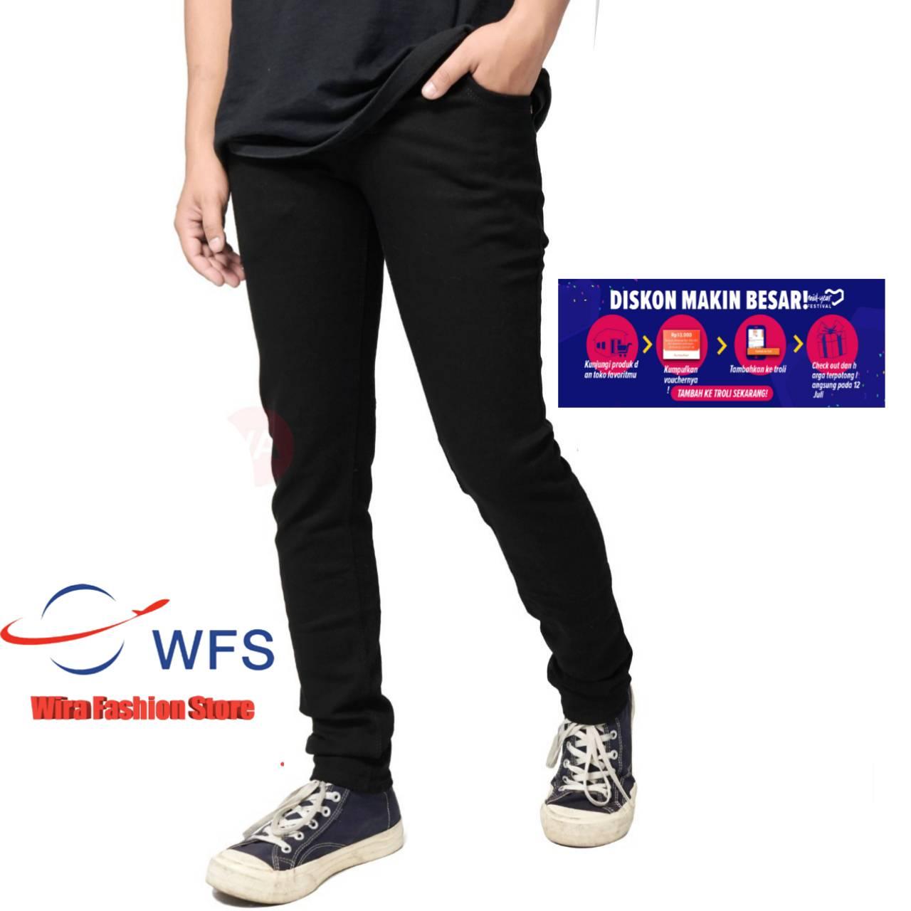 fifteen denim terlaris –  wira fashions store celana jeans black panjang skinny original semi slimfit cowo – cowok – pria  grosir