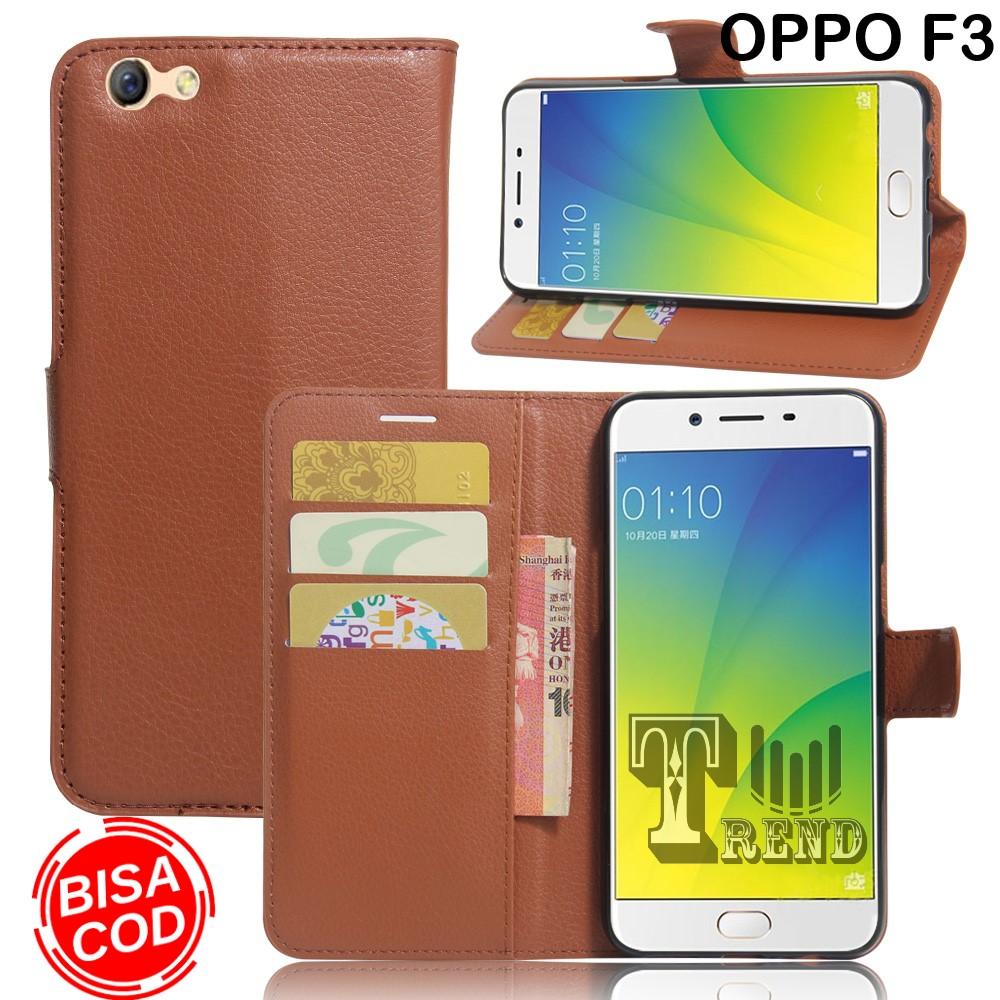 sarung buku flip untuk oppo f3- leather case flip- wallet case flip oppo f3 – casing dompet-sarung buku hp
