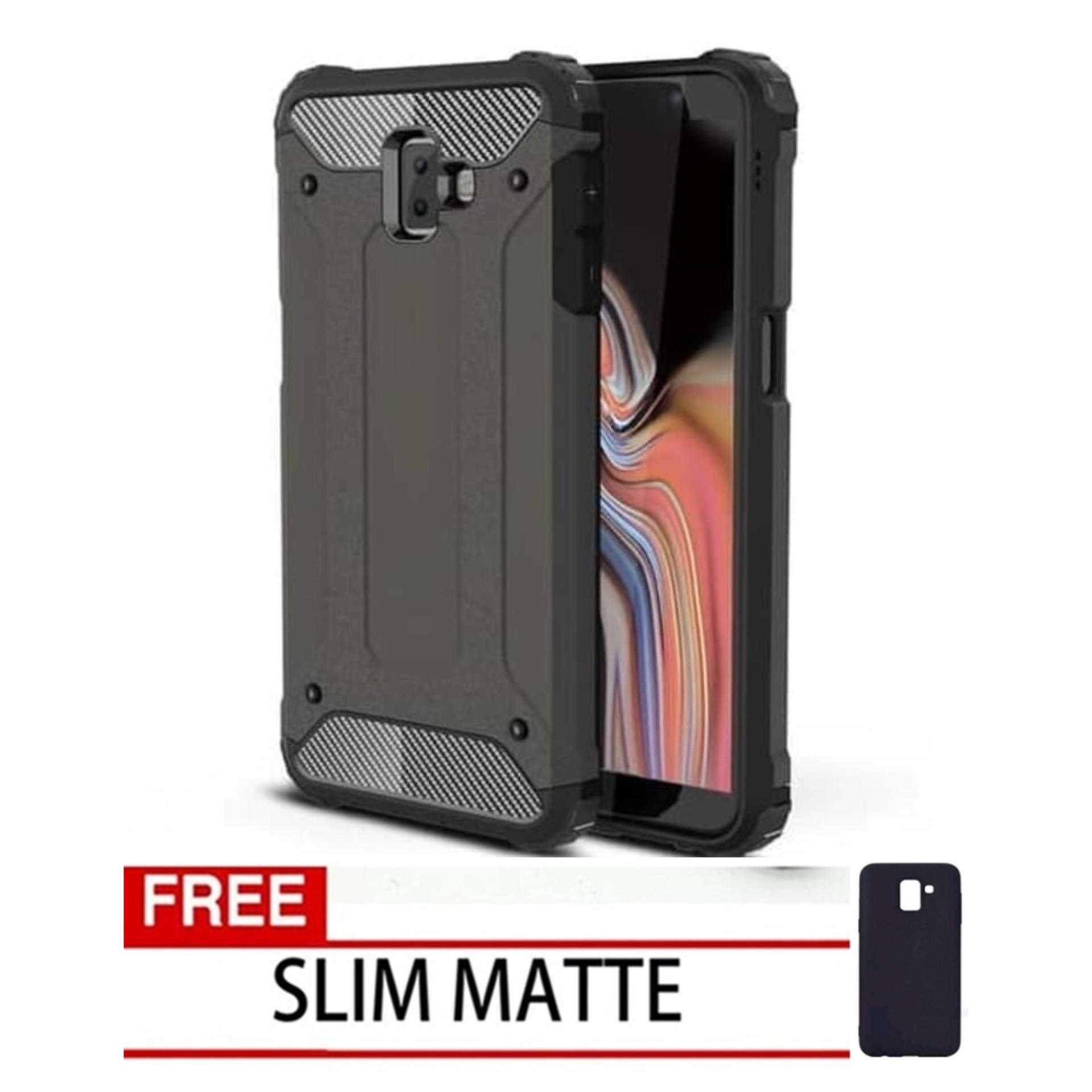 Case Hard Cover Robot Shockproof Armor For Samsung Galaxy J6 Plus 2018 - Black FREE Slim