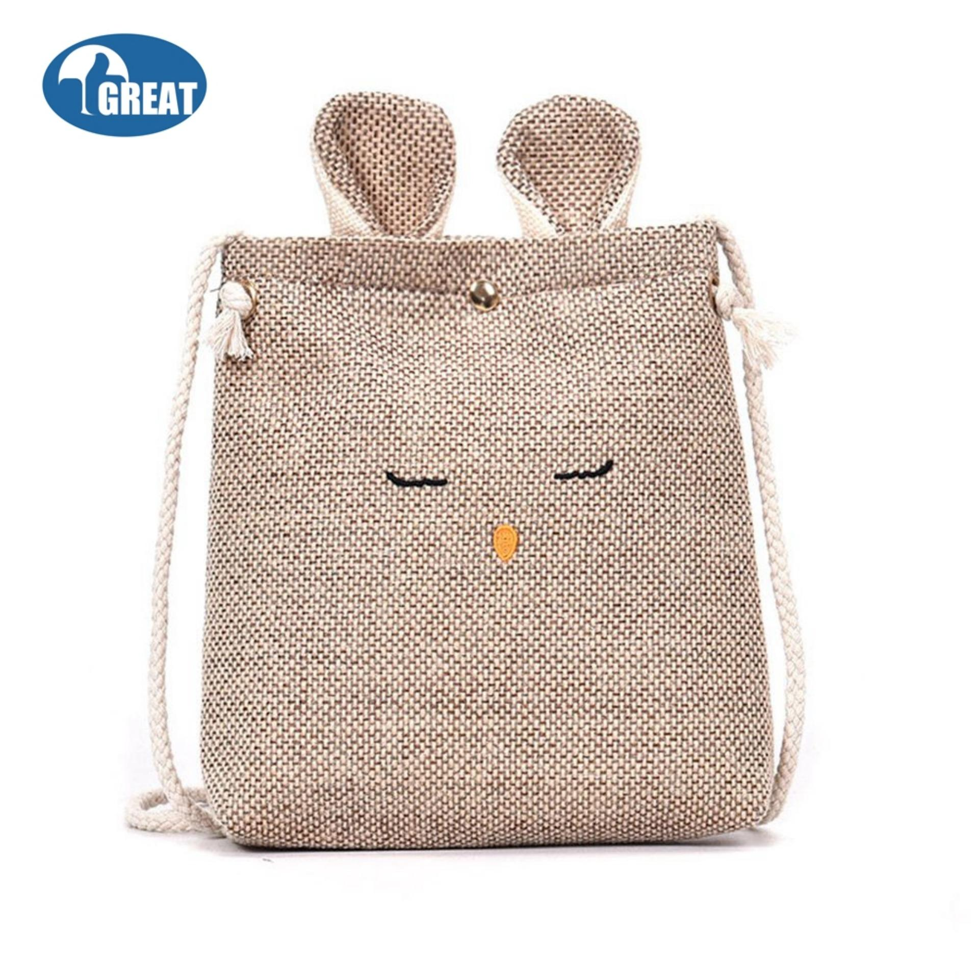 GoodGreat Girls Trendy Small Crossbody Purse Cat Ear Embroidered Emoji Cotton Shoulder Bag Pouch