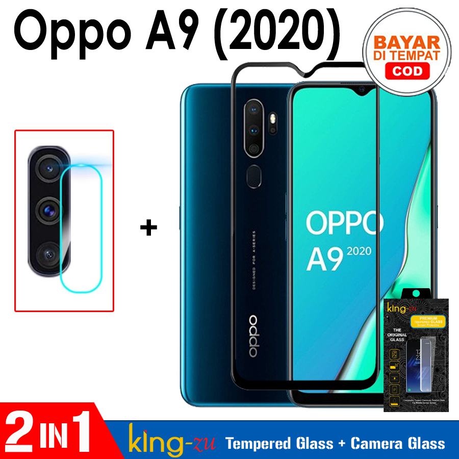 bayar tempat tempered glass full lem full cover – ( paket 2in1 ) oppo a9 2020 anti gores kaca list hitam / screen guard / screen protector full screen glass (cod) 9h full screen black screen anti gores kaca kamera – black / hitam