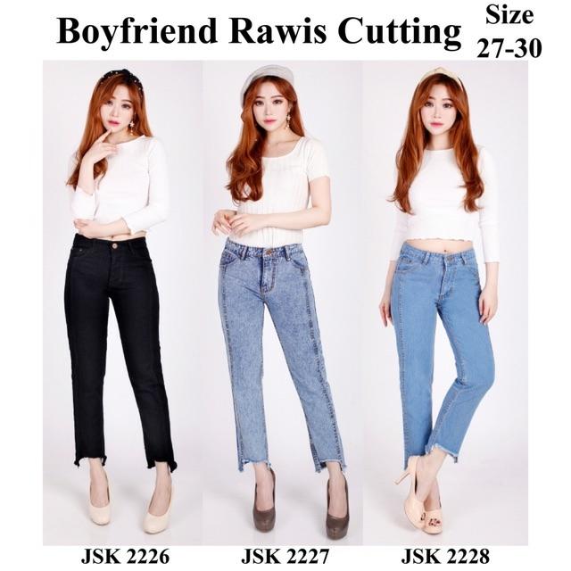 celana boyfriend wanita boyfriend rumbai celana jeans wanita sobek furing jumbo big size jsk jeans