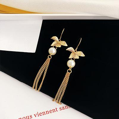 LRC Anting Gantung Simple Gold Color Flower Shape Decorated Earrings