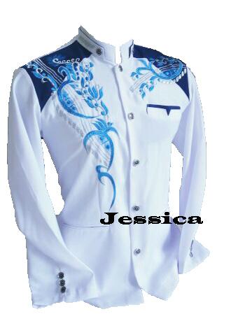 jasko  original/baju koko/busana muslim pria/jasko  / putih kombinasi biru motif pdg