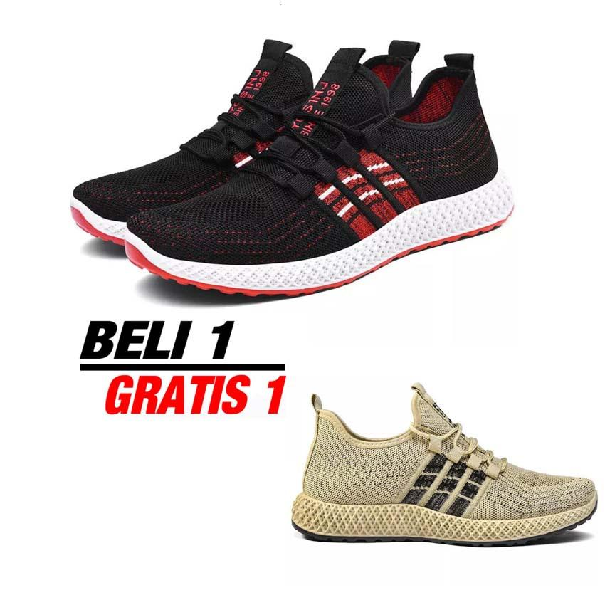 Sepatu Sneakers Import Korean Ringan Sport Casual -  Sepatu Import Sneakers Soft Casual Sports Shoes BUY 1 GET 1 - Hitam
