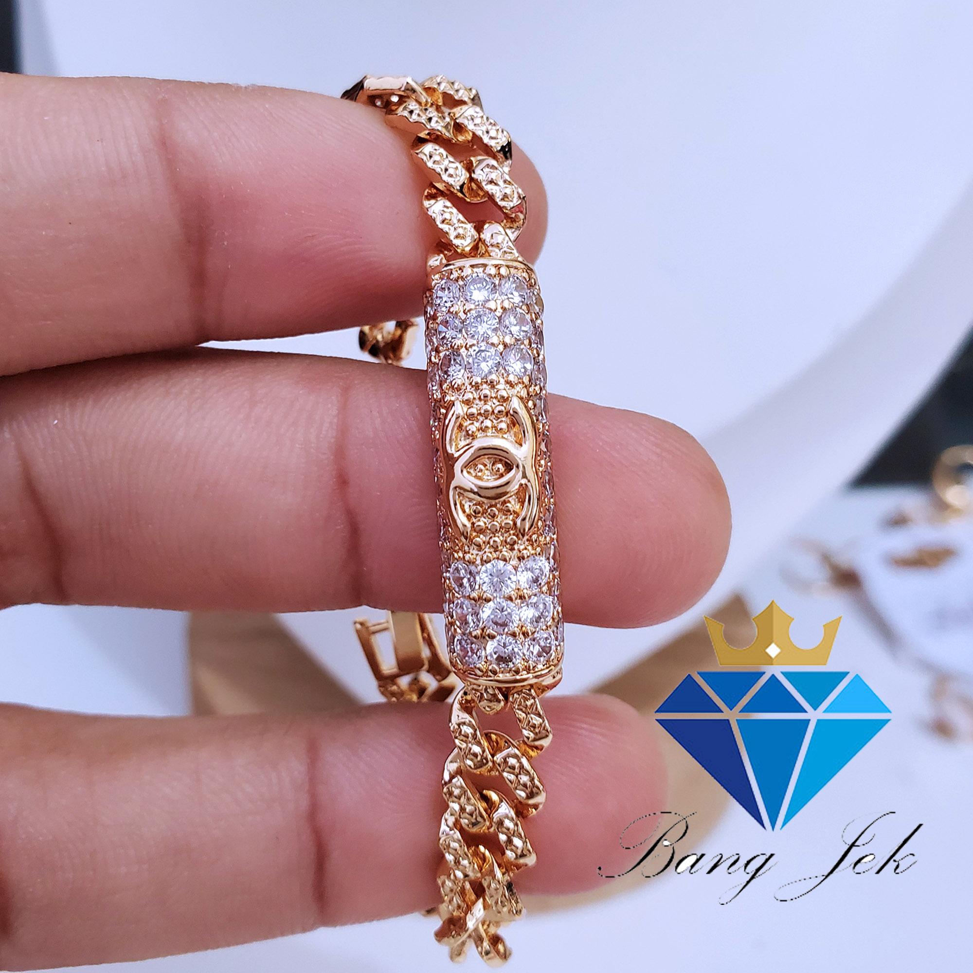gelang anak anti luntur motif chanel permatah gold 24 k