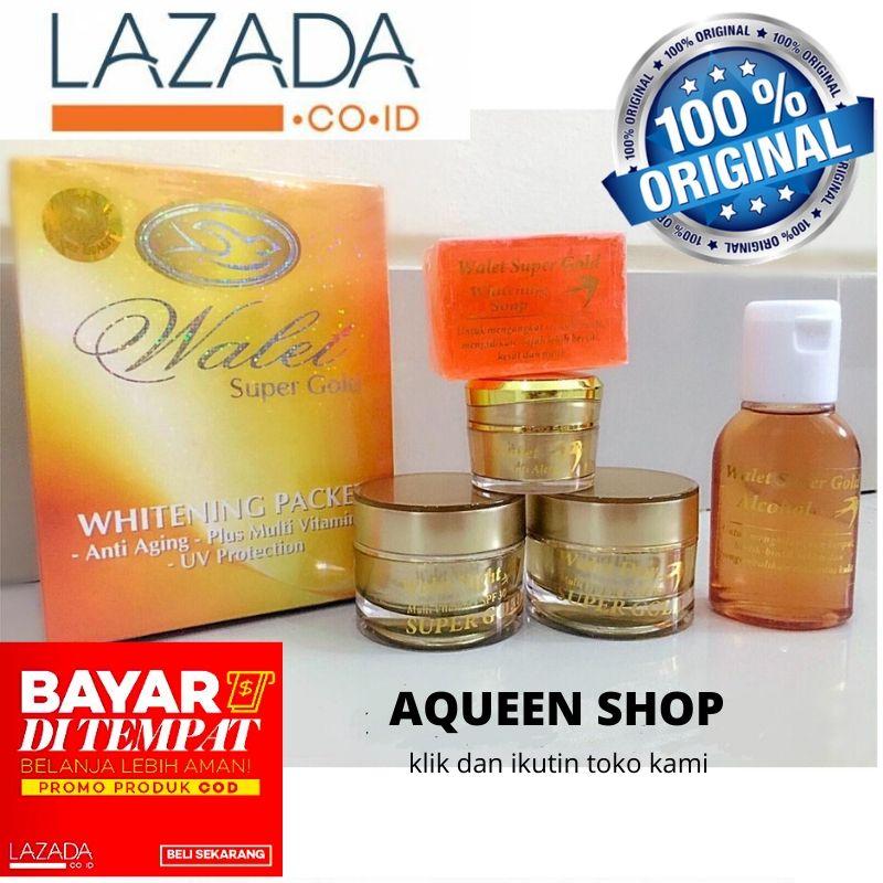 cod-walet super gold (natural) premium whitening anti aging paket 5 in 1 loh (whitening soap toner anti alergi day cream night cream) pemutih pencerah wajah