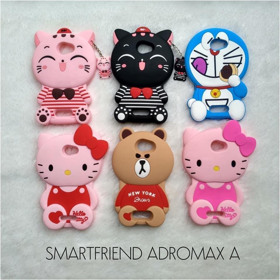 New Case 4D Cat Costum SMARTFREN ANDROMAX A 4G LTE Karakter Soft Silicon 4D Boneka Kucing
