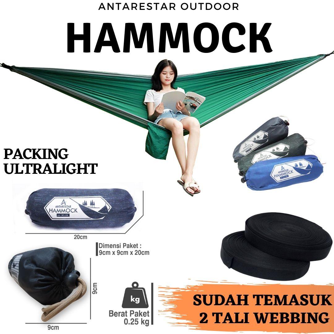 hammock single ayunan gantung camping outdoor ringan praktis! untuk pendaki hiking traveling backpacking hamock hemock hemok
