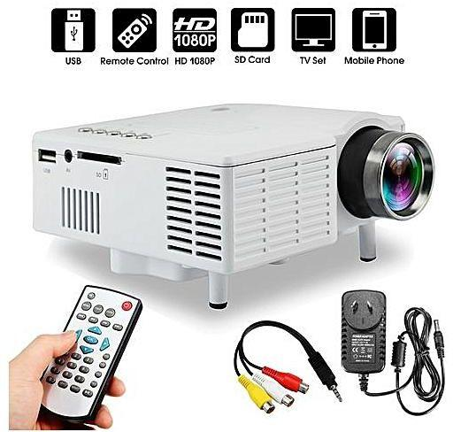 projector mini portable multimedia unic uc28+ mini portable led projector ada kabel av 400 lumens  + 3 in 1kabel phone to hdmi / hdtv video cable 1.0m for all phone compatible with apple samsung devices universal all phone