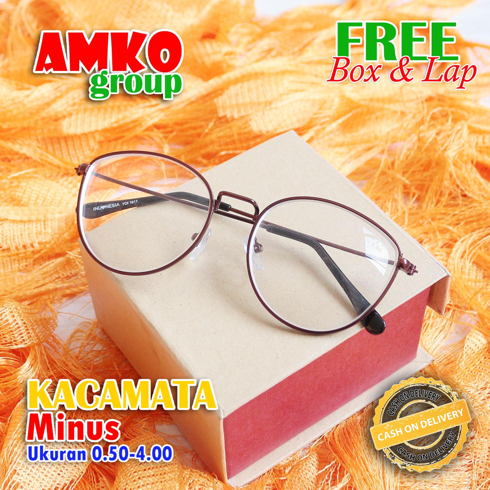 kacamata minus oval list besi  optik style korean 0.50-4.00 free box lap pembersih