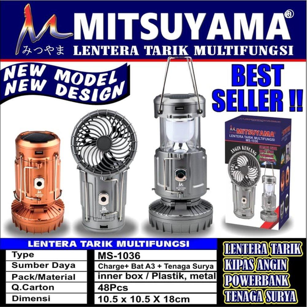 Mitsuyama Lampu Emergency Lentera Tarik Multifungsi + Kipas Angin 2 In 1 MS-1036 Lentera