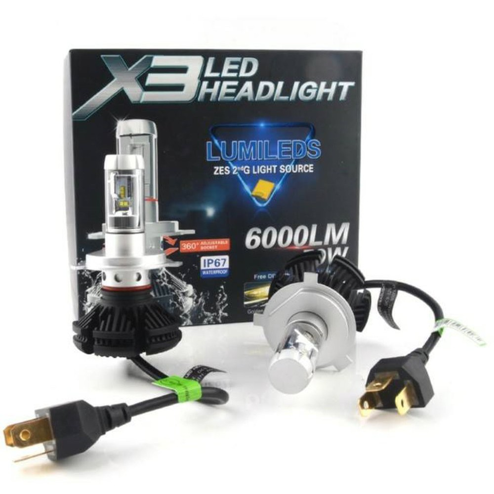 lampu led headlamp h4 x3 lumiled original 3 warna