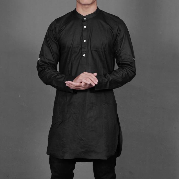 Lihat Diskon Kaos Pria Syari Sunnah Style Gamis Pakistan Hitam