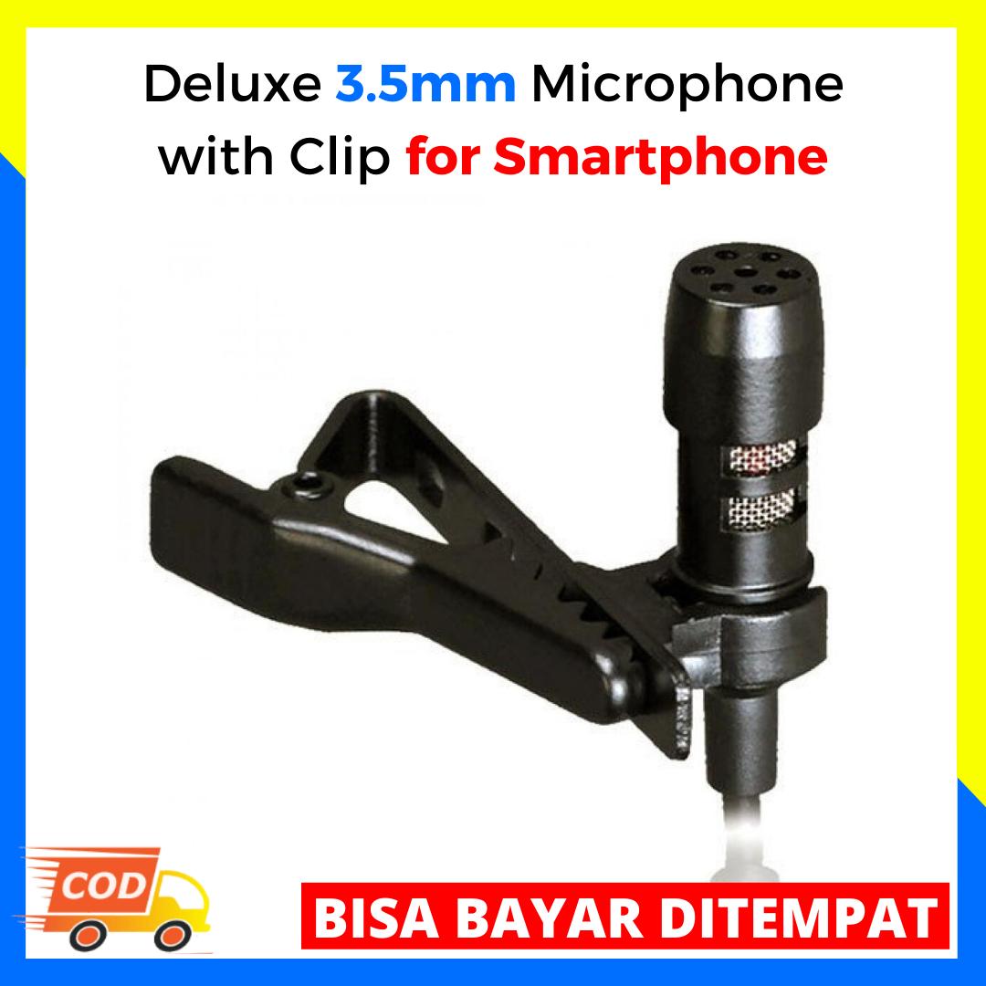 deluxe 3.5mm microphone with clip for smartphone / mic dengan clip untuk handphone / alat perekam suar untuk hp / mikrofon untuk handphone / alat penangkap suara / mikrofon hp