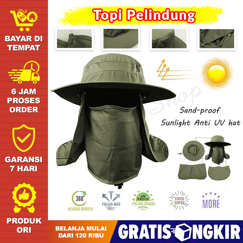 topi gunung pria wanita penutup wajah army pelindung leher mesh penutup wajah outdoor adventure bertualang survival hiking anti panas terik matahari cap with face protection uv protector anti debu kotoran pelindung tudung tutup penutup kepala – boom shop