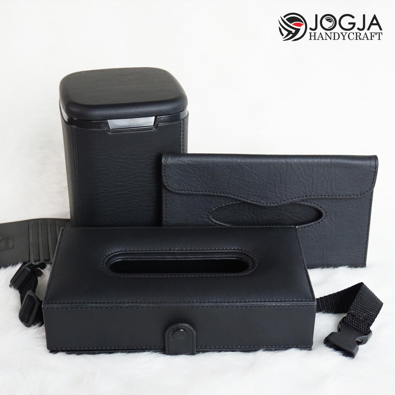 premium class – 1 set kotak tissue headrest mobil tempat tisu sunvisor & car dustbin black