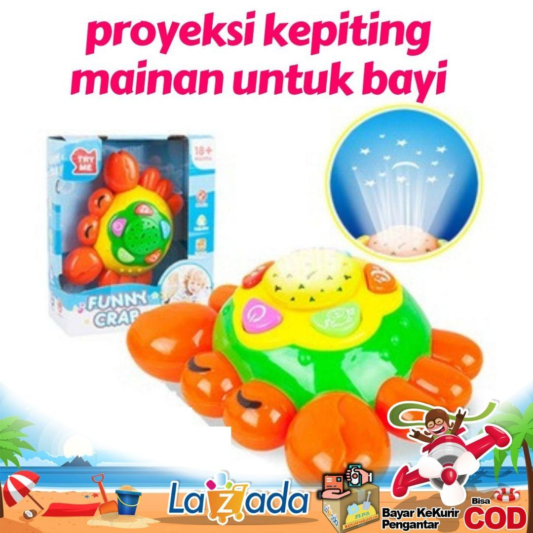 mainan anak lucu musik proyeksi kepiting mainan untuk bayi