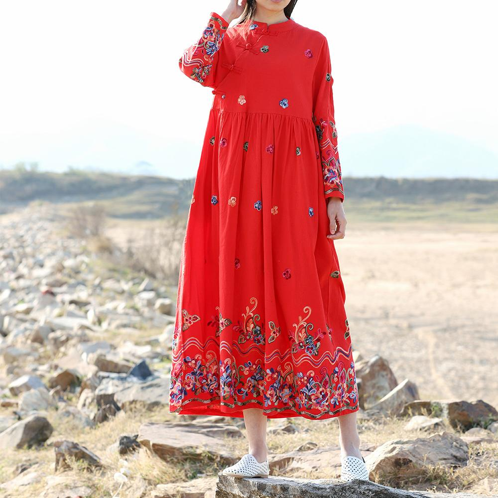... MIMZF baju wanita busana musim gugur Lengan panjang kerah berdiri Retro Gelang rajutan kain linen gaun
