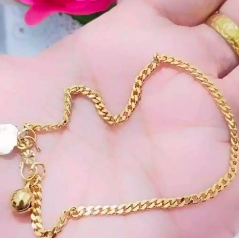 gelang kaki xuping perhiasan wanita motif rante simple menarik