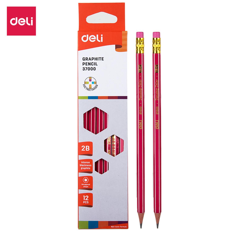 Deli E37000 Graphite Pencil/Pensil kayu - Graphite Pencil 2B w/eraser