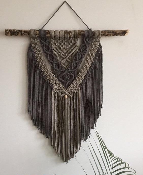 brown macrame hiasan dinding dekorasi