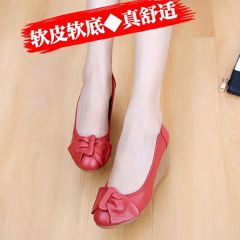 Sepatu Kulit Putih Musim Semi dan Musim Panas Sepatu Heels Wanita (Kasa Merah Model) - 5