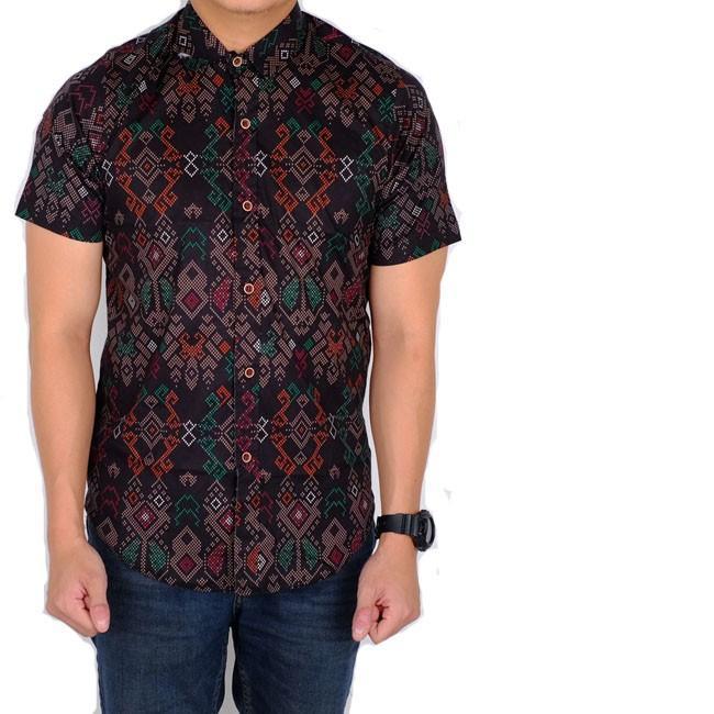 JERRYSPORT - kemeja pria batik songket pendek slimfit / baju batik cowok pendek slimfit
