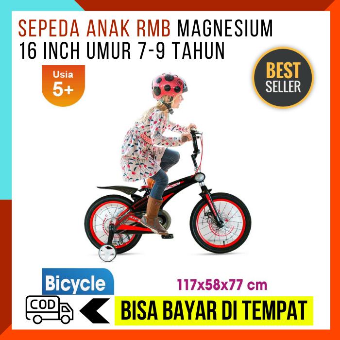 sepeda anak rmb magnesium 16 inch umur 7-9 tahun / sepeda anak frame kuat / sepeda si kecil
