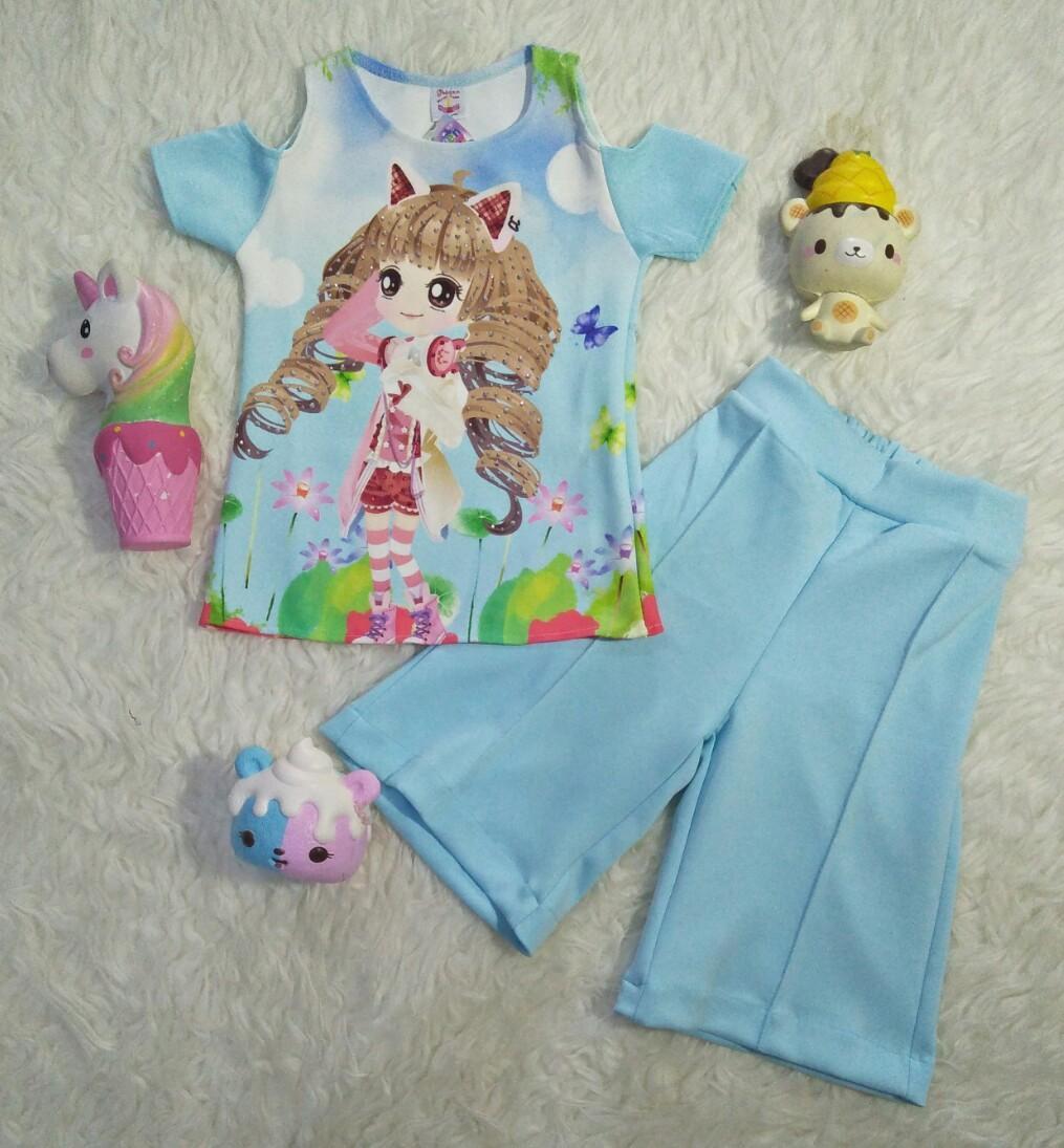 SR Collection (3 Warna Random) Pakaian Anak Perempuan Blouse Kulot BK 0026 Set 2