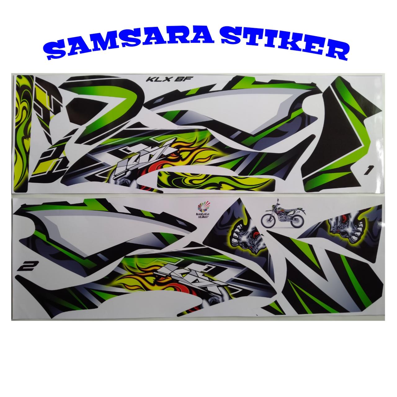 stiker striping motor klx bf skull hijau