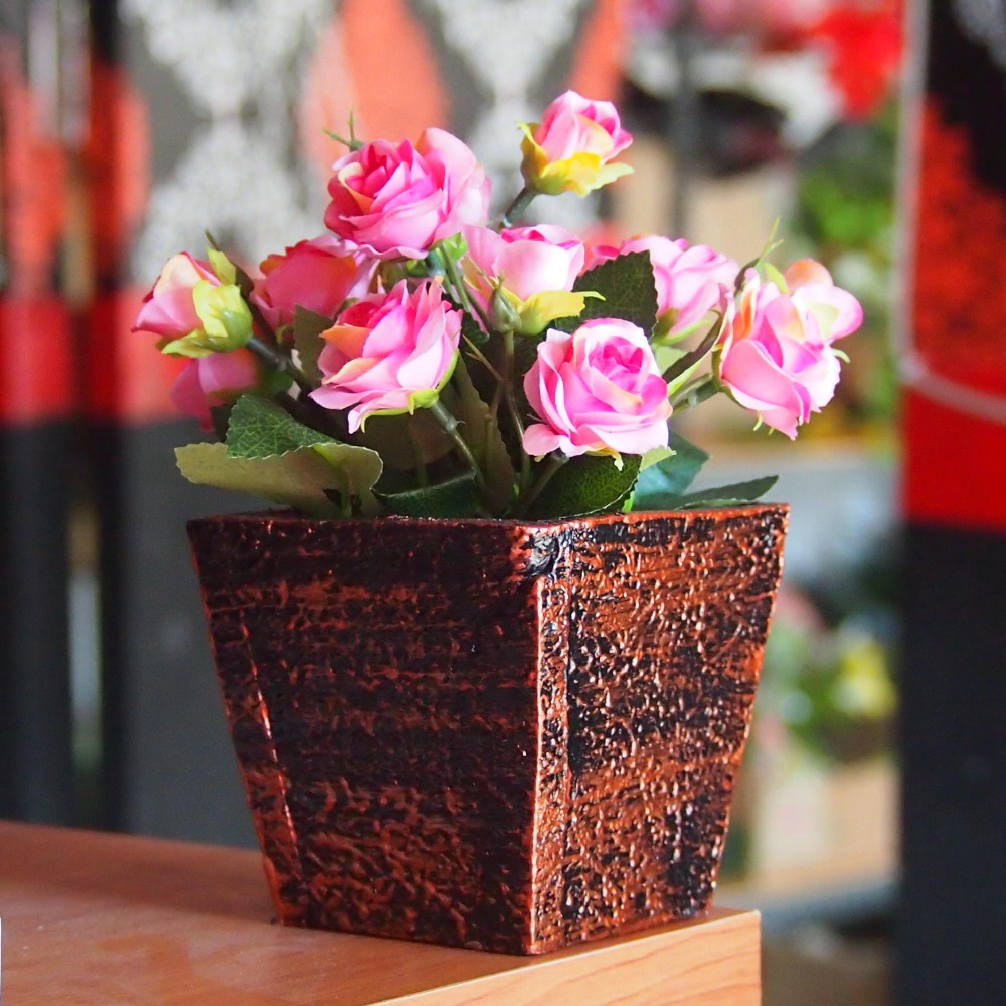 Bunga Hiasan Meja Dan Rumah - Bunga Artificial - Bunga Rangkai Rose Pot Kayu 98fcb22927