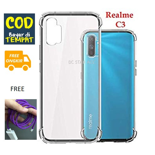 anti crack softcase for realme c3 clear softcase bening anti shock shockproof tpu jelly silicone backcase back cover / casing hp for realme c3 – bening free iringhp